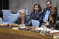 In this photo provided by the United Nations, UN Secretary-General Antonio Guterres, left, delivers remarks on Sept. 10, 2018, at a Security Council meeting on maintenance of international peace and security as he sits next to United States U.N. Ambassador Nikki Haley, right, who is also serving as president of the Security Council for the month of September, at UN headquarters. (United Nations/Manuel Elias via AP)