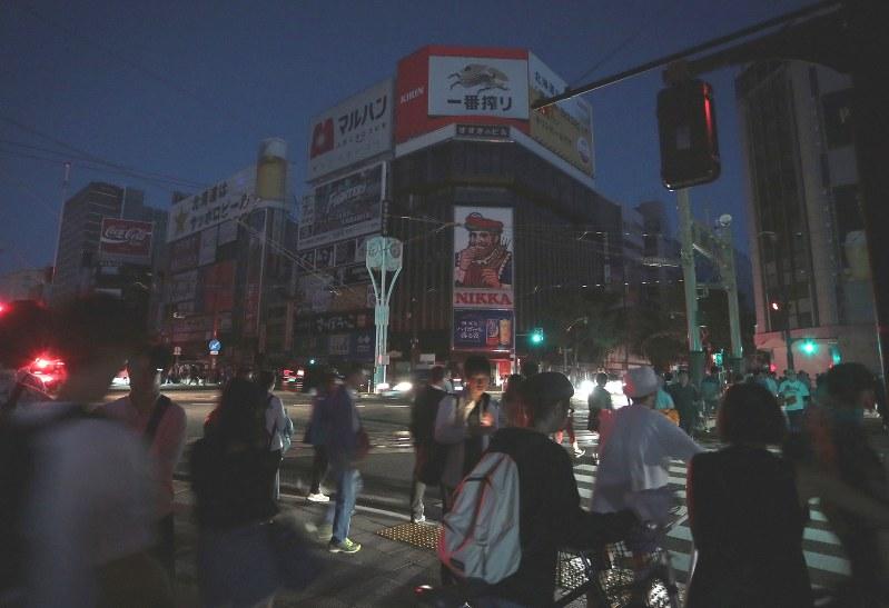 停電に見舞われた札幌市内