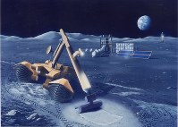 An artist's concept of robotic construction equipment digging the moon's surface. (Photo courtesy of Shimizu Corp.)