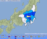 This screenshot from the Japan Meteorological Agency website shows a distribution of intensity of jolts recorded by a magnitude 4.3 quake that hit the Kanto region on Sept. 18, 2018.