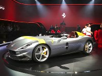 The Ferrari Monza SP1 is displayed in Maranello, Italy, on Sept. 18, 2018. (AP Photo/Collen Barry)