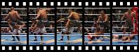 元五輪代表・宮田和幸選手を開始4秒でKOした山本KIDさんの跳びひざ蹴り(実際の撮影はデジタルカメラのため、フィルムの枠はイメージです)=2006年5月3日、小座野容斉撮影