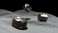 リュウグウ表面を探査するロボット「ミネルバ2」の想像図=宇宙航空研究開発機構提供