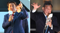 Prime Minister and ruling Liberal Democratic Party President Shinzo Abe, left, and challenger and former party Secretary-General Shigeru Ishiba give speeches in Tokyo's Akihabara and Shibuya districts, respectively, on Sept. 19, 2018, the day before the party leadership election. (Mainichi/Naoki Hasegawa & Hiroshi Maruyama)