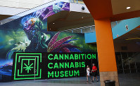 In this Sept. 18, 2018 photo, people walk by the Cannabition cannabis museum in Las Vegas. (AP Photo/John Locher)