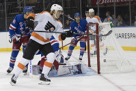 Philadelphia Flyers center Greg Carey reacts after scoring a goal during the first period of a preseason NHL hockey game against the New York Rangers, on Sept. 19, 2018, at Madison Square Garden in New York. (AP Photo/Mary Altaffer)