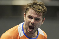 Stan Wawrinka of Switzerland reacts during the St. Petersburg Open ATP tennis tournament match against Karen Khachanov of Russia in St. Petersburg, Russia, on Sept. 19, 2018. (AP Photo/Dmitry Lovetsky)