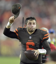 Cleveland Browns quarterback Baker Mayfield celebrates after the Browns defeated the New York Jets 21-17 in an NFL football game on Sept. 20, 2018, in Cleveland. (AP Photo/David Richard)