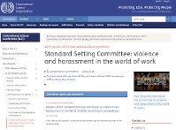 This screen capture shows the International Labor Organization's web page detailing discussions at a June ILO meeting on harassment and violence in the workplace.