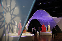 This photo taken on Sept. 20, 2018 shows, the exhibit Contemporary Muslim Fashions at the M. H. de Young Memorial Museum in San Francisco. (AP Photo/Eric Risberg)