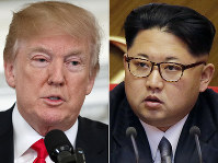 This combination of two file photos shows U.S. President Donald Trump, left, speaking in the State Dining Room of the White House, in Washington on Feb. 26, 2018, and North Korean leader Kim Jong Un attending in the party congress in Pyongyang, North Korea on May 9, 2016. (AP Photo/Evan Vucci, Wong Maye-E)