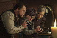 This image released by Universal Pictures shows Jack Black, from left, Owen Vaccaro and Cate Blanchett in a scene from