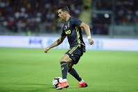 Juventus' Cristiano Ronaldo controls the ball during the Serie A soccer match between Frosinone and Juventus at the Benito Stirpe stadium in Frosinone, Italy, on Sept. 23, 2018. (Federico Proietti/ANSA via AP)