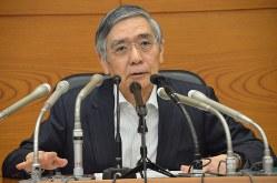 記者会見する日銀の黒田東彦総裁=2018年9月19日、竹下理子撮影