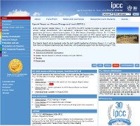 This screenshot shows the website of the Intergovernmental Panel on Climate Change.