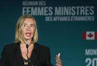 In this Sept. 22, 2018 photo, European Union foreign policy chief Federica Mogherini speaks at a news conference during a meeting of Women Foreign Ministers in Montreal. (Graham Hughes/The Canadian Press via AP)