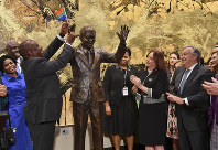 South Africa President Cyril Ramaphosa, left, United Nations General Assembly President Maria Fernanda Espinosa, center, and United Nations Secretary General Antonio Guterres attend the unveiling ceremony of the Nelson Mandela Statue which was presented as a gift from the Republic of South Africa, on Sept. 24, 2018, at United Nations headquarters. (Angela Weiss/Pool Photo via AP)