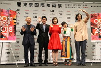 From left, Masaaki Yuasa, Junji Sakamoto, Mayu Matsuoka, Yukino Kishii, and Rikiya Imaizumi attend a news conference to announce the lineup of the 31st Tokyo International Film Festival (TIFF), at Toranomon Hills in Tokyo's Minato Ward, on Sept. 25, 2018. (Mainichi/Rei Oikawa)