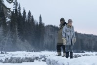 This image released by Netflix shows Riley Keough, left, and Jeffrey Wright in a scene from