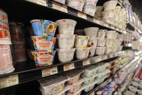 This July 11, 2018, file photo shows yogurt on display at a grocery store in River Ridge, La. The Food and Drug Administration established a standard for yogurt in 1981 that limited the ingredients. (AP Photo/Gerald Herbert)