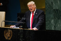 President Donald Trump delivers a speech to the United Nations General Assembly on Sept. 25, 2018, at U.N. Headquarters. (AP Photo/Evan Vucci)