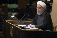 Iranian President Hassan Rouhani addresses the 73rd session of the United Nations General Assembly, on Sept. 25, 2018 at U.N. headquarters. (AP Photo/Mary Altaffer)