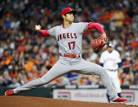 Shohei Ohtani of the Los Angeles Angels pitches during a baseball game against the Houston Astros in Houston on Sept. 2, 2018. (Kyodo)