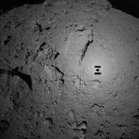 はやぶさ2が高度70メートルから撮影したリュウグウの表面。中央右側に探査機の影がくっきりと見える=宇宙航空研究開発機構提供