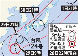 台風24号:30日にも西日本に上陸...