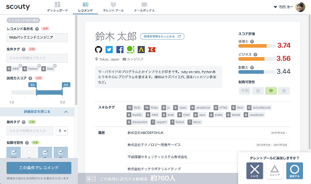 scoutyのデータベース画面。プロフィールのほか技術力などのデータが登録されている。(同社提供)