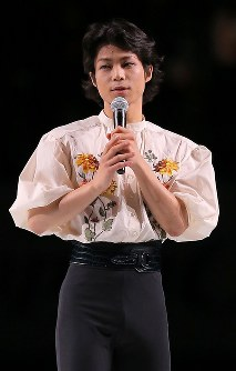 【ジャパンオープン】引退セレモニーであいさつする町田樹=さいたまスーパーアリーナで2018年10月6日、宮武祐希撮影