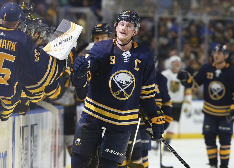 Buffalo Sabres forward Jack Eichel (9) celebrates his goal during the first  period of an NHL hockey game against the Vegas Golden Knights 3a0c997f0