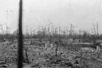 写真中央の多くの樹木が残る場所が泉邸(現縮景園)。南に向けて撮影したもの=1946年ごろ撮影、アレクサンダー・ターンブル図書館所蔵