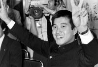 ドラフトで巨人に1位指名された東海大の原辰徳内野手=神奈川県平塚市の東海大で1980年11月26日撮影