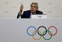 International Olympic Committee President Thomas Bach gives a press conference at the end of the 133rd IOC session in Buenos Aires, Argentina, on Oct. 9, 2018. (AP Photo/Natacha Pisarenko)