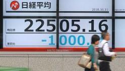 日経平均株価急落を示す証券会社の株価ボード(10月11日、東京都中央区で手塚耕一郎撮影)