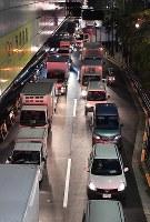 A traffic jam is seen on a road near the newly opened Toyosu market in Tokyo's Koto Ward on Oct. 11, 2018. (Mainichi/Toshiki Miyama)
