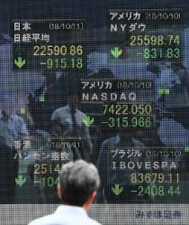 世界同時株安の様相となった各国の株価下落を示す街頭ボード=東京都中央区で2018年10月11日午後3時49分、手塚耕一郎撮影