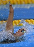 【アジアパラ大会・競泳】女子100メートル背泳ぎ(運動機能障害S9)で3位の一ノ瀬メイ=インドネシア・ジャカルタで2018年10月11日、久保玲撮影