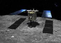 小惑星リュウグウの地表に着陸する探査機「はやぶさ2」のイメージ=池下章裕さん提供