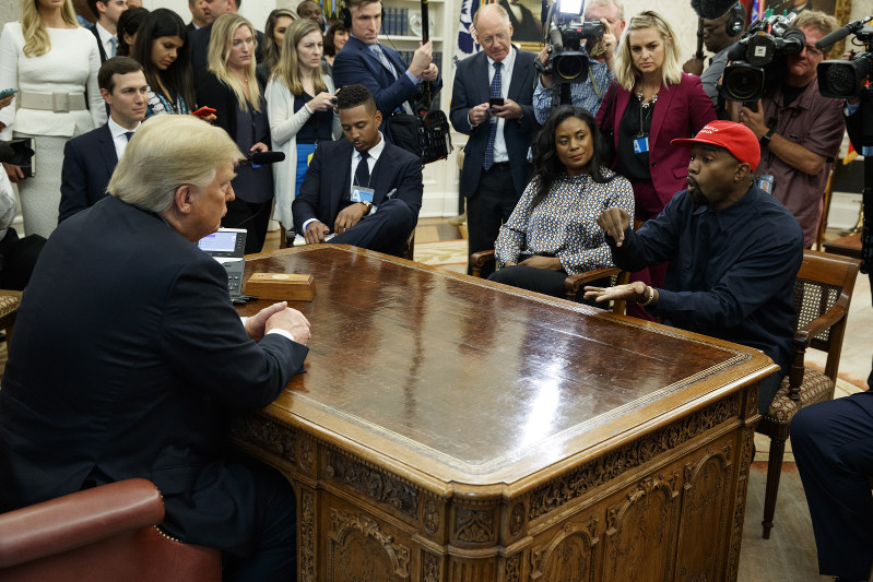 b00645c0d76e8 Rapper Kanye West speaks during a meeting with President Donald Trump in the  Oval Office of the White House