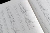 富士ケ嶺公民館に残されたオウム真理教施設から回収された信者のものと見られるノート=山梨県富士河口湖町で2018年9月6日、小川昌宏撮影