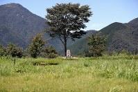 オウム真理教の施設があった場所に建てられた慰霊碑=山梨県富士河口湖町で2018年8月27日、小川昌宏撮影