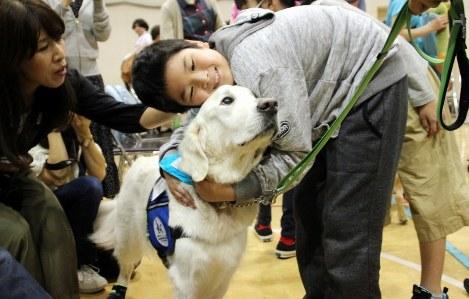 Facility dog Bailey is hugged by a boy after a retirement ceremony at Kanagawa Children's Medical Center in Yokohama's Minami Ward, on Oct. 16, 2018. (Mainichi/Haruka Udagawa)