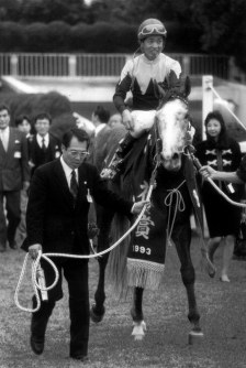 【1993年】ビワハヤヒデ 2着ステージチャンプに5馬身差をつけ、レコードタイムで圧勝したビワハヤヒデと岡部幸雄騎手=京都競馬場で1993年11月7日撮影
