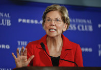 In this Aug. 21, 2018, file photo, Sen. Elizabeth Warren, D-Mass., gestures while speaking at the National Press Club in Washington. (AP Photo/Pablo Martinez Monsivais)