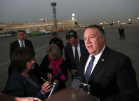 U.S. Secretary of State Mike Pompeo talks to the media before leaving Riyadh, Saudi Arabia on Oct. 17, 2018. (Leah Millis/Pool Photo via AP)