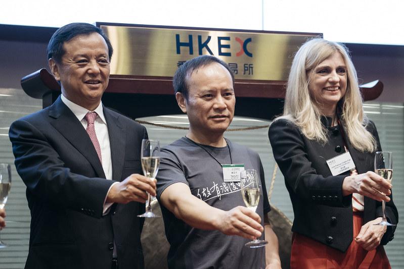2017年9月に香港証券取引所に上場した衆安在線財産保険。公開価格は59.7香港ドルだった