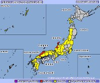 This screenshot of the Japan Meteorological Agency website shows areas where warnings and advisories have been issued.