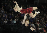 Evgenia Tarasova and Vladimir Morozov, of Russia, perform during the pairs short program at Skate America, on Oct. 19, 2018, in Everett, Wash. (AP Photo/Ted S. Warren)